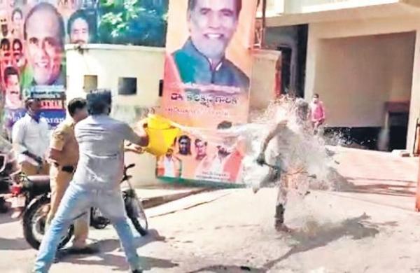 BJP worker sets himself
