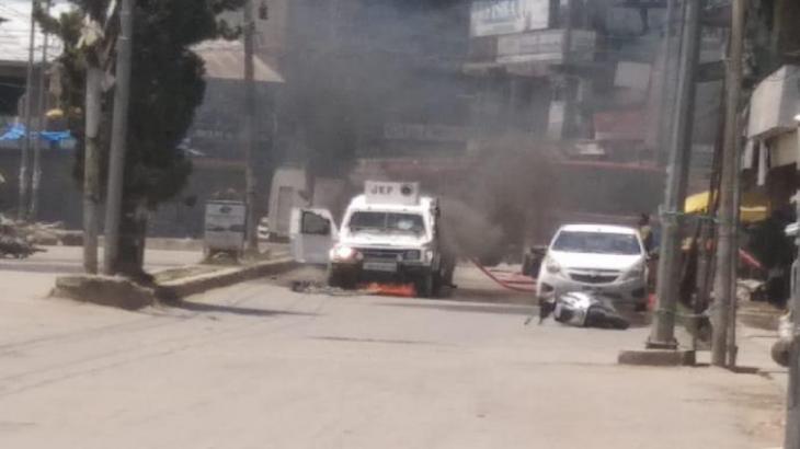Terrorist attack on a police team